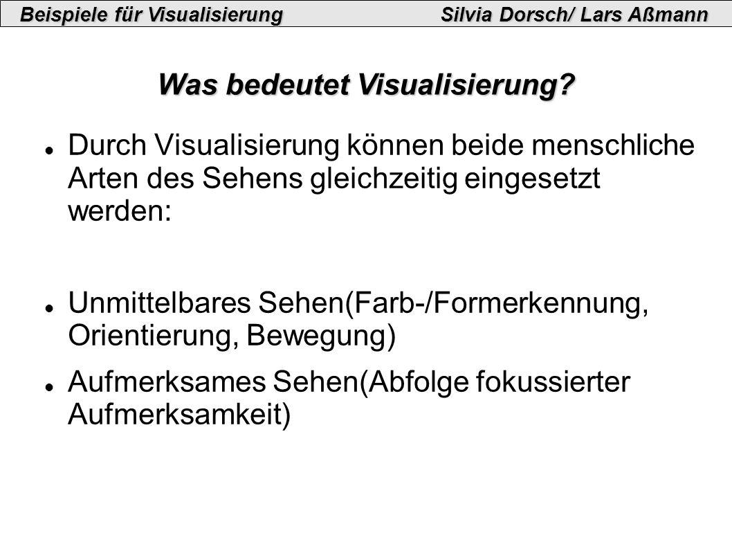 Beispiele für VisualisierungSilvia Dorsch/ Lars Aßmann Beispiel I: Konzepte