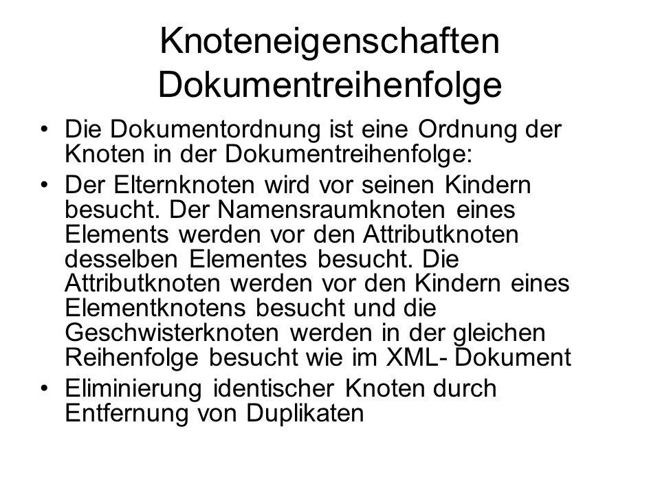Knoteneigenschaften Dokumentreihenfolge Die Dokumentordnung ist eine Ordnung der Knoten in der Dokumentreihenfolge: Der Elternknoten wird vor seinen Kindern besucht.