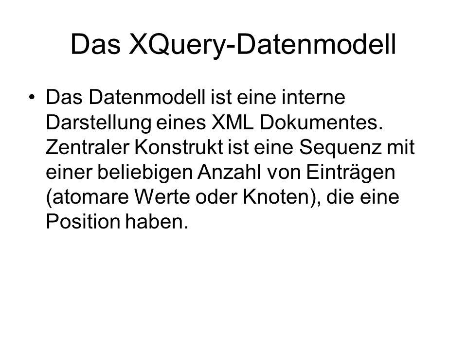 Das XQuery-Datenmodell Das Datenmodell ist eine interne Darstellung eines XML Dokumentes.
