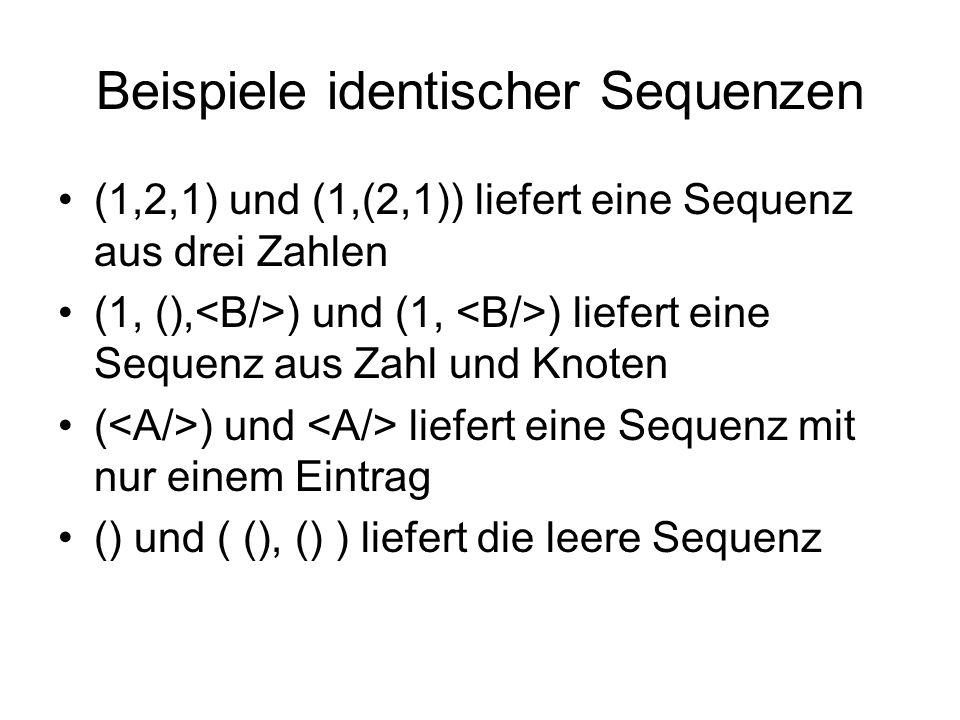 Beispiele identischer Sequenzen (1,2,1) und (1,(2,1)) liefert eine Sequenz aus drei Zahlen (1, (), ) und (1, ) liefert eine Sequenz aus Zahl und Knoten ( ) und liefert eine Sequenz mit nur einem Eintrag () und ( (), () ) liefert die leere Sequenz