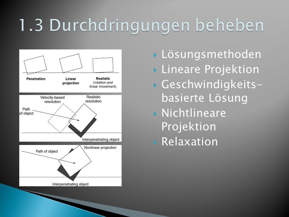 Lösungsmethoden Lineare Projektion Geschwindigkeits- basierte Lösung Nichtlineare Projektion Relaxation