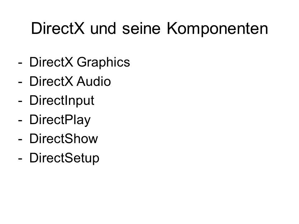 DirectX und seine Komponenten -DirectX Graphics -DirectX Audio -DirectInput -DirectPlay -DirectShow -DirectSetup