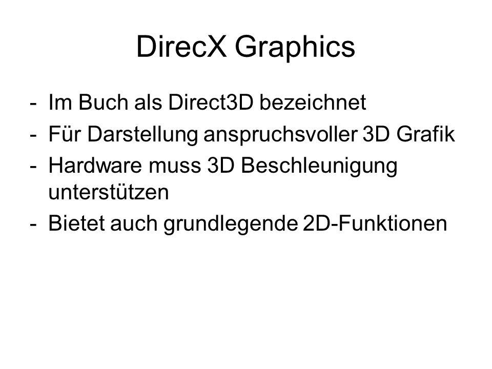 DirecX Graphics -Im Buch als Direct3D bezeichnet -Für Darstellung anspruchsvoller 3D Grafik -Hardware muss 3D Beschleunigung unterstützen -Bietet auch