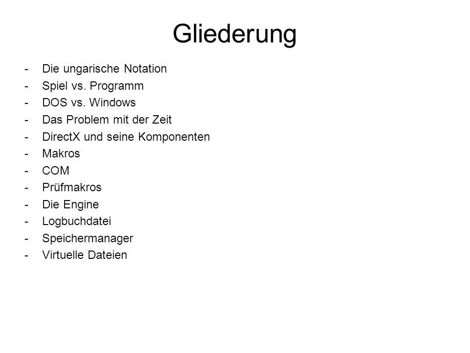 Gliederung -Die ungarische Notation -Spiel vs. Programm -DOS vs. Windows -Das Problem mit der Zeit -DirectX und seine Komponenten -Makros -COM -Prüfma