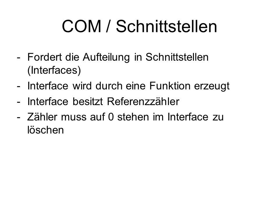 COM / Schnittstellen -Fordert die Aufteilung in Schnittstellen (Interfaces) -Interface wird durch eine Funktion erzeugt -Interface besitzt Referenzzäh