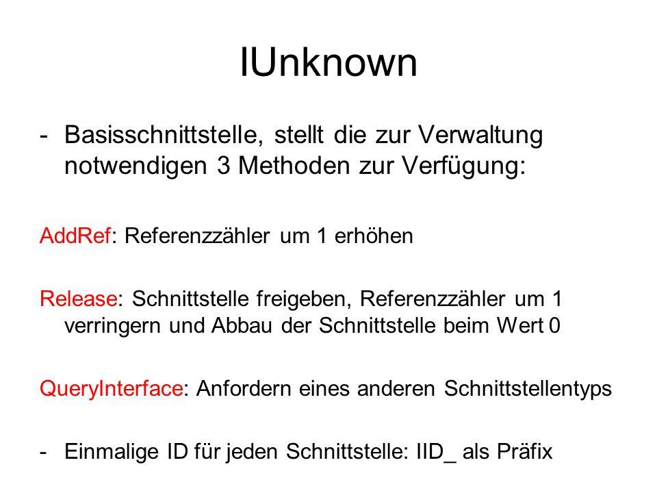IUnknown -Basisschnittstelle, stellt die zur Verwaltung notwendigen 3 Methoden zur Verfügung: AddRef: Referenzzähler um 1 erhöhen Release: Schnittstel