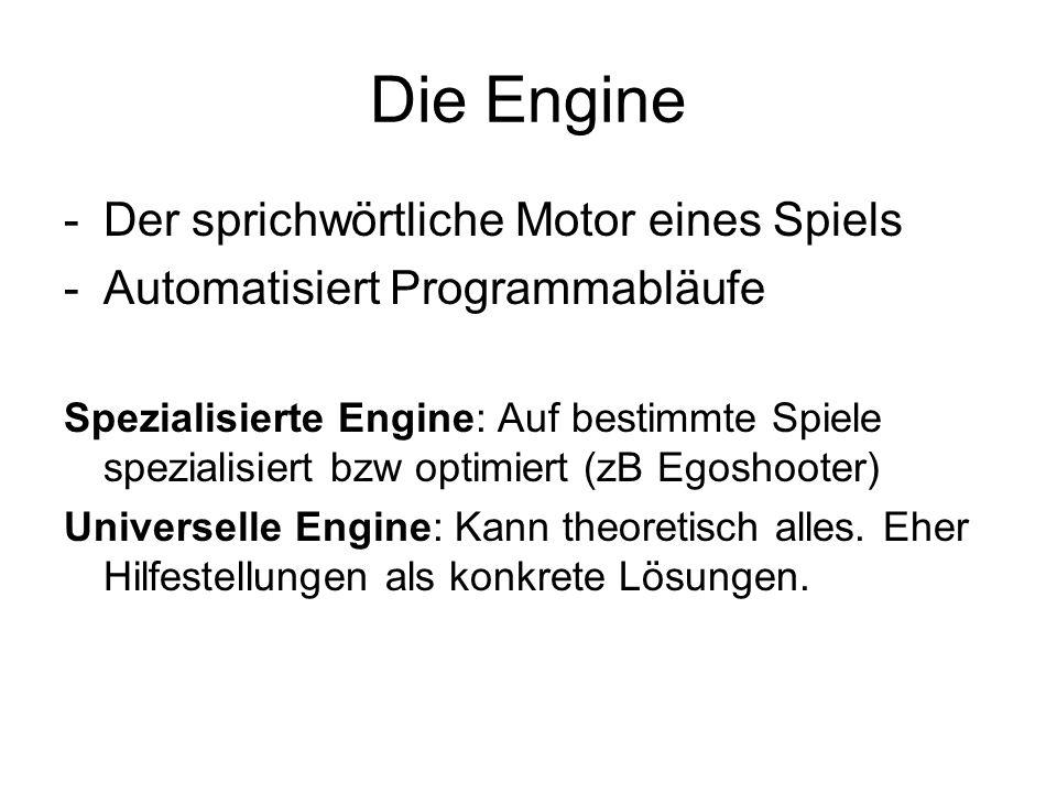 Die Engine -Der sprichwörtliche Motor eines Spiels -Automatisiert Programmabläufe Spezialisierte Engine: Auf bestimmte Spiele spezialisiert bzw optimi