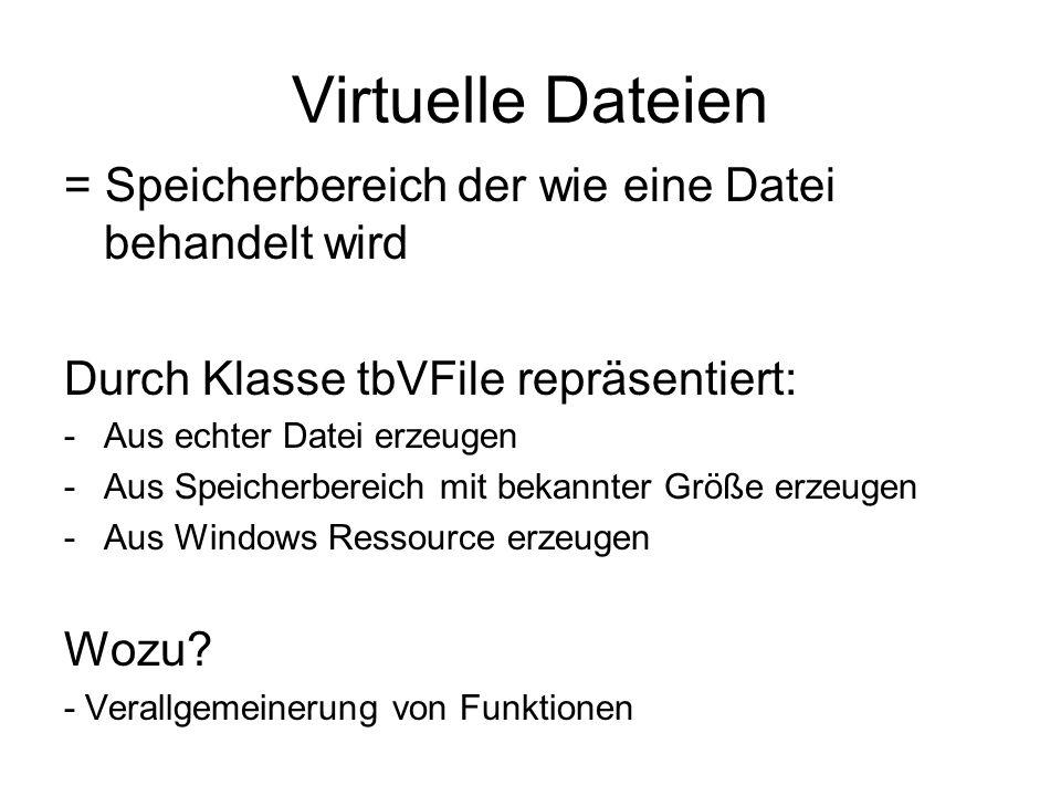 Virtuelle Dateien = Speicherbereich der wie eine Datei behandelt wird Durch Klasse tbVFile repräsentiert: -Aus echter Datei erzeugen -Aus Speicherbere