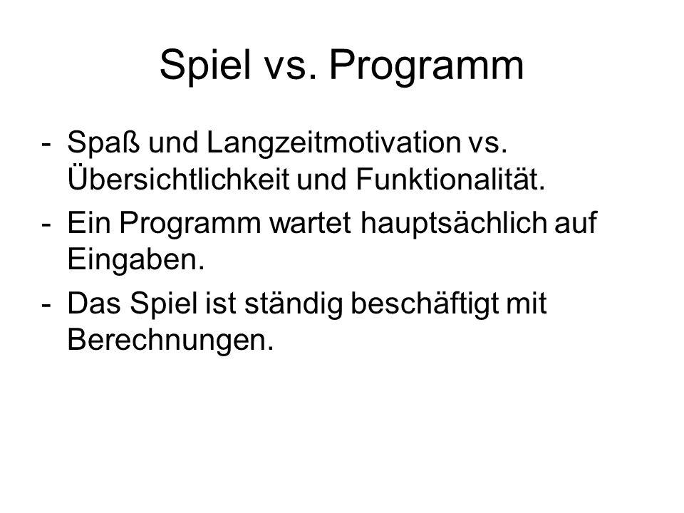 Spiel vs. Programm -Spaß und Langzeitmotivation vs. Übersichtlichkeit und Funktionalität. -Ein Programm wartet hauptsächlich auf Eingaben. -Das Spiel