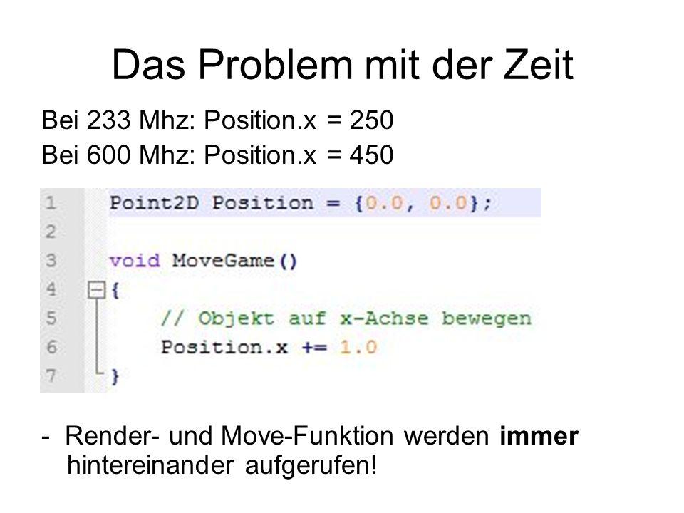 Das Problem mit der Zeit Bei 233 Mhz: Position.x = 250 Bei 600 Mhz: Position.x = 450 - Render- und Move-Funktion werden immer hintereinander aufgerufe