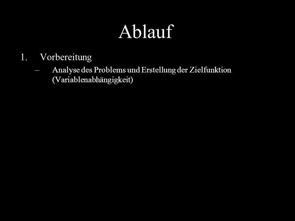 Ablauf 1.Vorbereitung –Analyse des Problems und Erstellung der Zielfunktion (Variablenabhängigkeit)