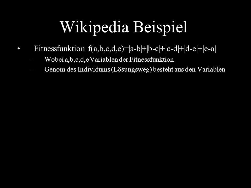 Wikipedia Beispiel Fitnessfunktion f(a,b,c,d,e)=|a-b|+|b-c|+|c-d|+|d-e|+|e-a| –Wobei a,b,c,d,e Variablen der Fitnessfunktion –Genom des Individums (Lö