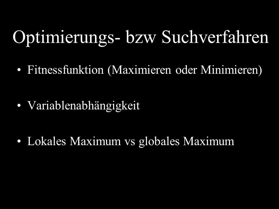 Optimierungs- bzw Suchverfahren Fitnessfunktion (Maximieren oder Minimieren) Variablenabhängigkeit Lokales Maximum vs globales Maximum