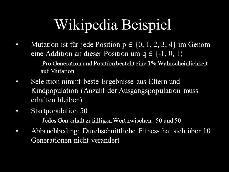 Wikipedia Beispiel Mutation ist für jede Position p {0, 1, 2, 3, 4} im Genom eine Addition an dieser Position um q {-1, 0, 1} – Pro Generation und Pos
