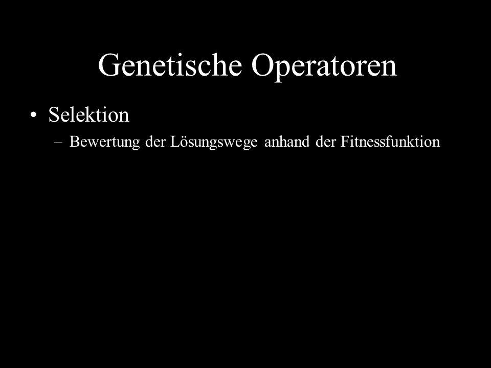 Genetische Operatoren Selektion –Bewertung der Lösungswege anhand der Fitnessfunktion