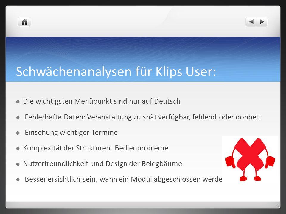 Schwächenanalysen für Klips User: Die wichtigsten Menüpunkt sind nur auf Deutsch Fehlerhafte Daten: Veranstaltung zu spät verfügbar, fehlend oder dopp