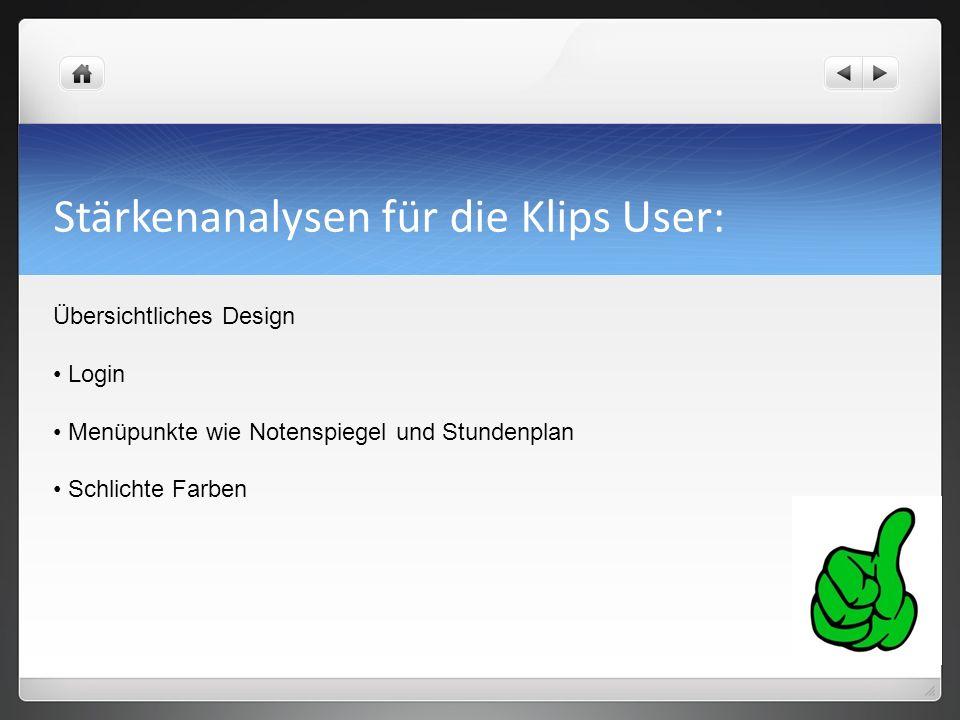 Stärkenanalysen für die Klips User: Übersichtliches Design Login Menüpunkte wie Notenspiegel und Stundenplan Schlichte Farben