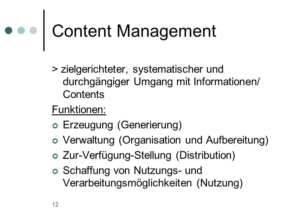 12 Content Management > zielgerichteter, systematischer und durchgängiger Umgang mit Informationen/ Contents Funktionen: Erzeugung (Generierung) Verwa
