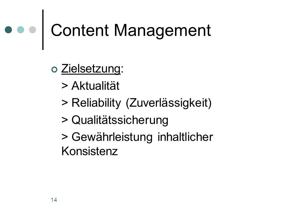 14 Content Management Zielsetzung: > Aktualität > Reliability (Zuverlässigkeit) > Qualitätssicherung > Gewährleistung inhaltlicher Konsistenz