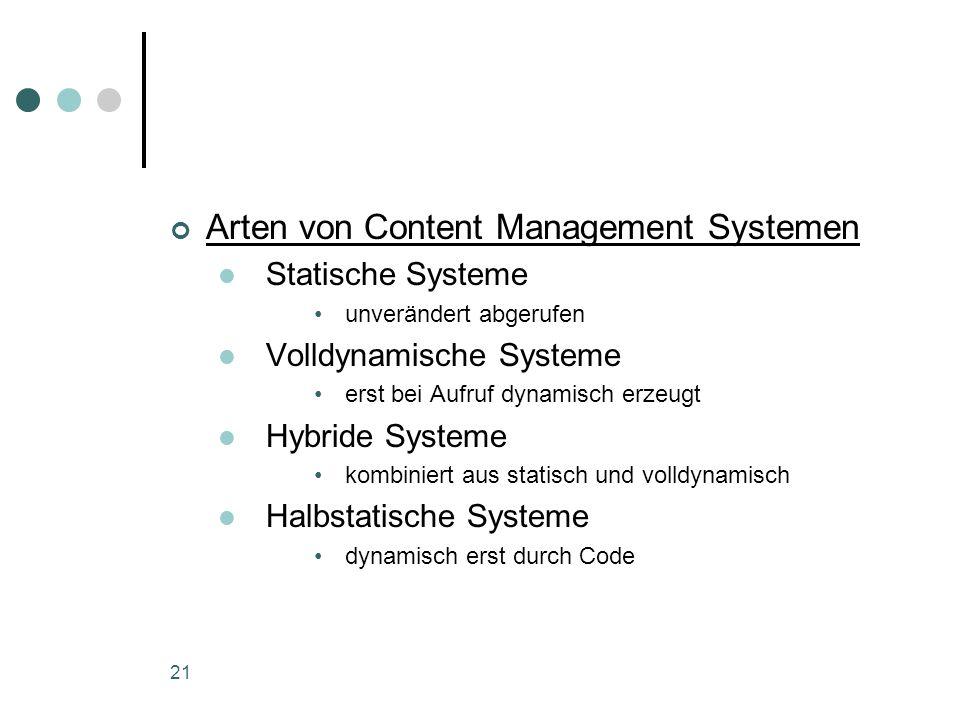 21 Arten von Content Management Systemen Statische Systeme unverändert abgerufen Volldynamische Systeme erst bei Aufruf dynamisch erzeugt Hybride Syst