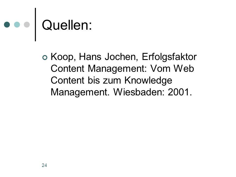 24 Quellen: Koop, Hans Jochen, Erfolgsfaktor Content Management: Vom Web Content bis zum Knowledge Management. Wiesbaden: 2001.