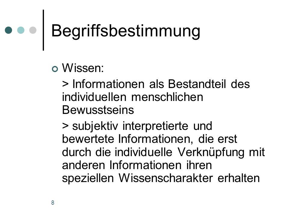 8 Begriffsbestimmung Wissen: > Informationen als Bestandteil des individuellen menschlichen Bewusstseins > subjektiv interpretierte und bewertete Info