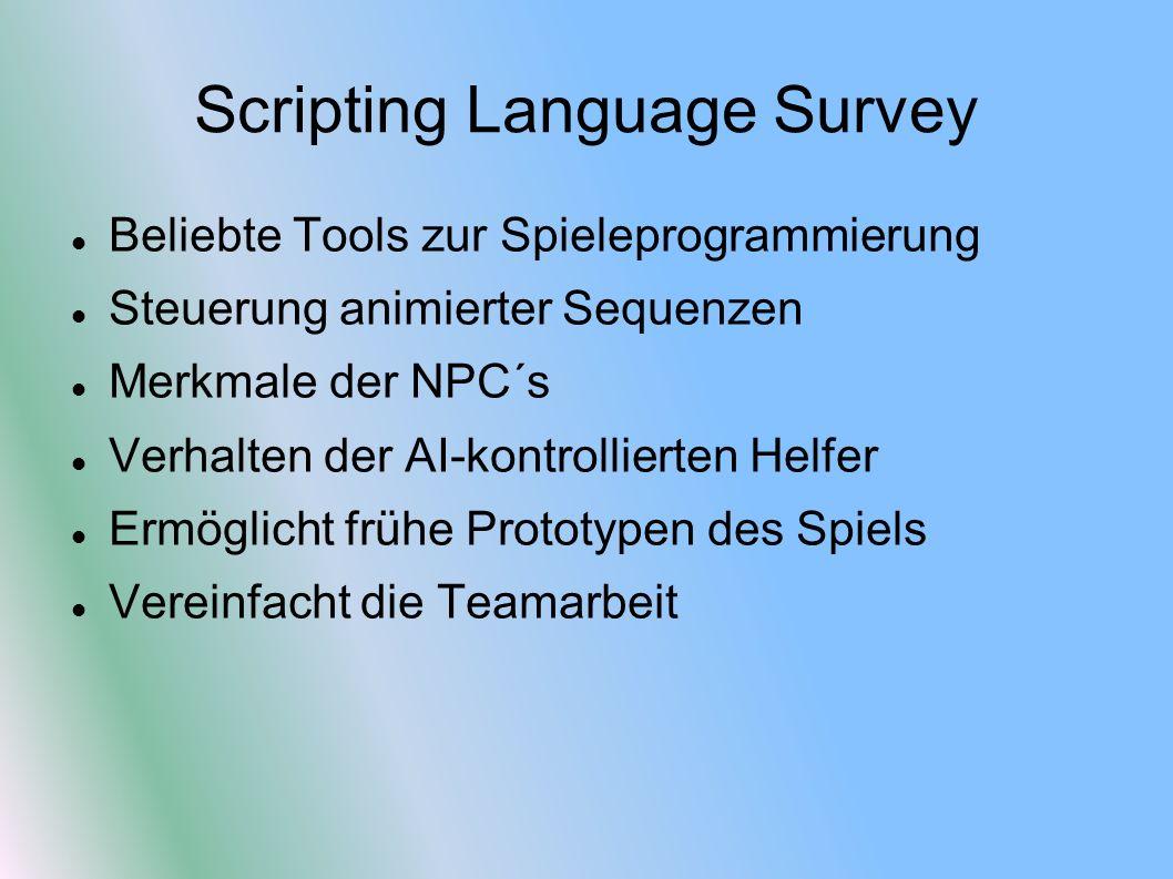 Scripting Language Survey Beliebte Tools zur Spieleprogrammierung Steuerung animierter Sequenzen Merkmale der NPC´s Verhalten der AI-kontrollierten Helfer Ermöglicht frühe Prototypen des Spiels Vereinfacht die Teamarbeit