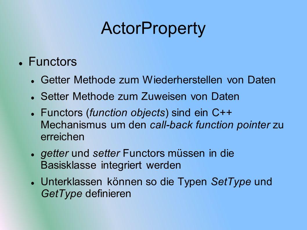 ActorProperty Functors Getter Methode zum Wiederherstellen von Daten Setter Methode zum Zuweisen von Daten Functors (function objects) sind ein C++ Mechanismus um den call-back function pointer zu erreichen getter und setter Functors müssen in die Basisklasse integriert werden Unterklassen können so die Typen SetType und GetType definieren