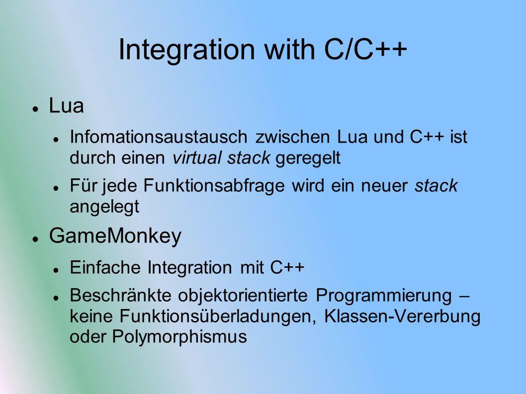 Lua Infomationsaustausch zwischen Lua und C++ ist durch einen virtual stack geregelt Für jede Funktionsabfrage wird ein neuer stack angelegt GameMonkey Einfache Integration mit C++ Beschränkte objektorientierte Programmierung – keine Funktionsüberladungen, Klassen-Vererbung oder Polymorphismus