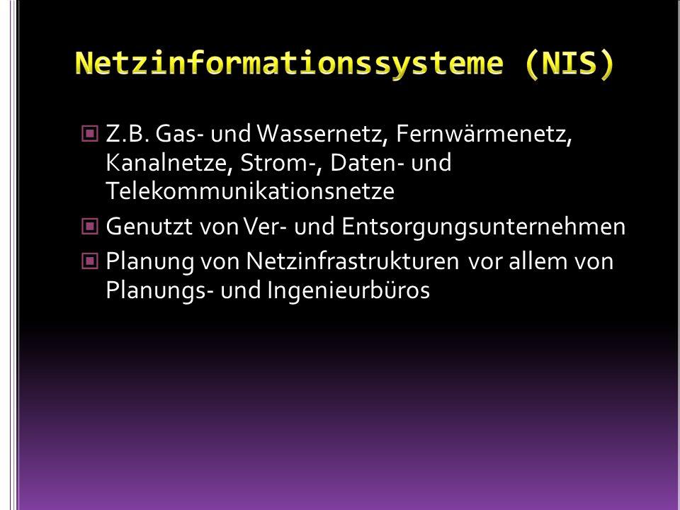 Z.B. Gas- und Wassernetz, Fernwärmenetz, Kanalnetze, Strom-, Daten- und Telekommunikationsnetze Genutzt von Ver- und Entsorgungsunternehmen Planung vo
