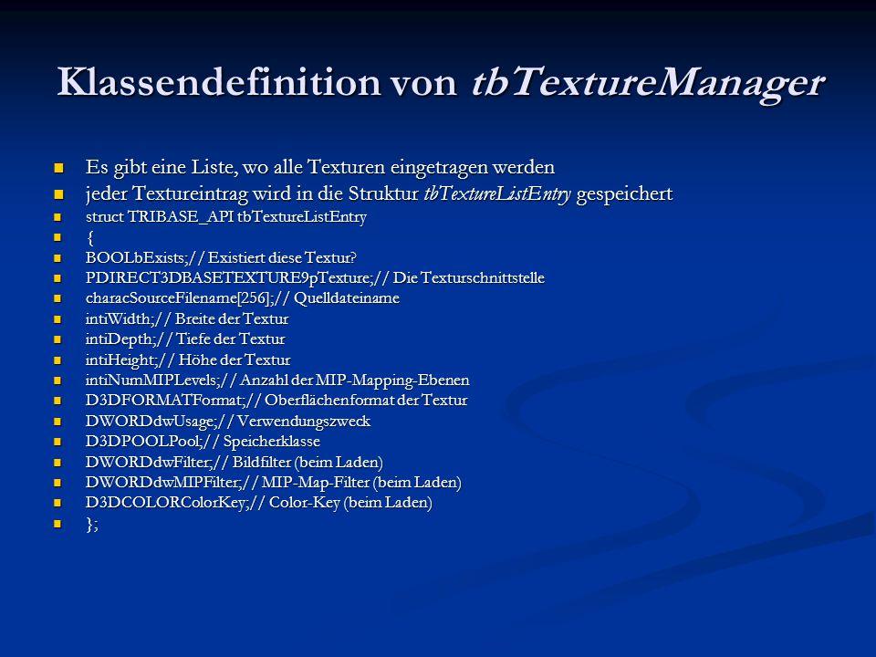 Klassendefinition von tbTextureManager Es gibt eine Liste, wo alle Texturen eingetragen werden Es gibt eine Liste, wo alle Texturen eingetragen werden