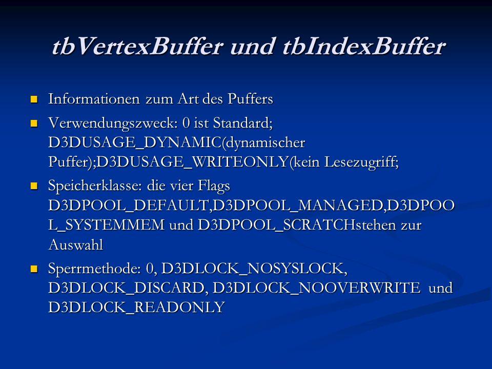 tbVertexBuffer und tbIndexBuffer Informationen zum Art des Puffers Informationen zum Art des Puffers Verwendungszweck: 0 ist Standard; D3DUSAGE_DYNAMI