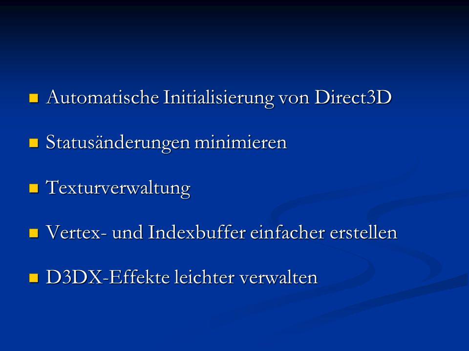 Automatische Initialisierung von Direct3D Automatische Initialisierung von Direct3D Statusänderungen minimieren Statusänderungen minimieren Texturverw