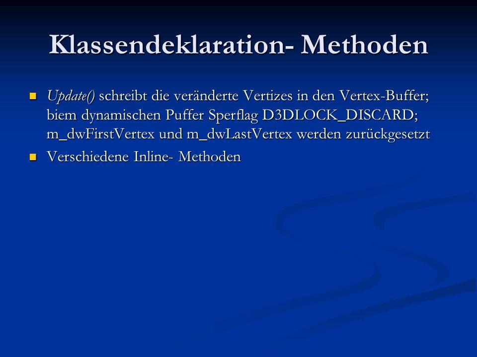 Klassendeklaration- Methoden Update() schreibt die veränderte Vertizes in den Vertex-Buffer; biem dynamischen Puffer Sperflag D3DLOCK_DISCARD; m_dwFir