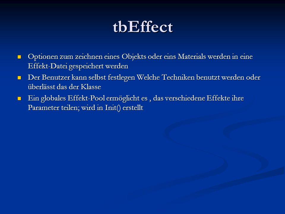 tbEffect Optionen zum zeichnen eines Objekts oder eins Materials werden in eine Effekt-Datei gespeichert werden Optionen zum zeichnen eines Objekts od