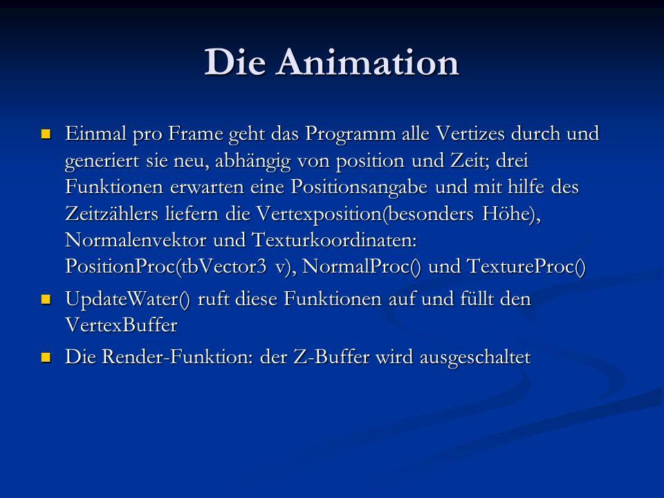 Die Animation Einmal pro Frame geht das Programm alle Vertizes durch und generiert sie neu, abhängig von position und Zeit; drei Funktionen erwarten e
