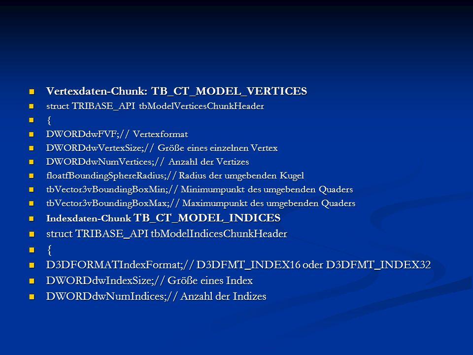 Vertexdaten-Chunk: TB_CT_MODEL_VERTICES Vertexdaten-Chunk: TB_CT_MODEL_VERTICES struct TRIBASE_API tbModelVerticesChunkHeader struct TRIBASE_API tbMod