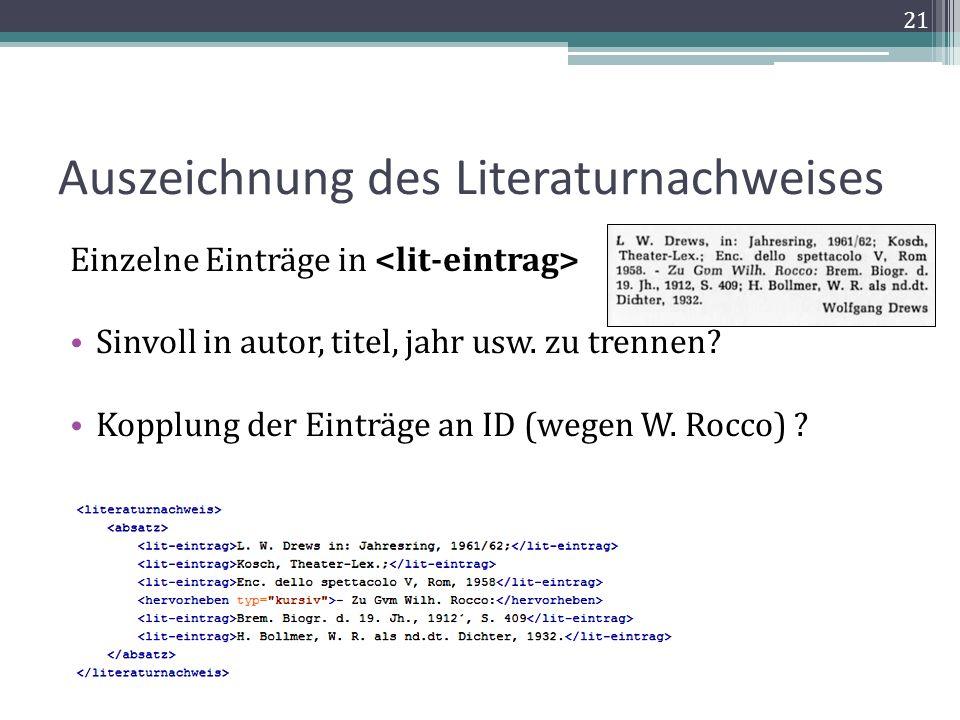 Auszeichnung des Literaturnachweises Einzelne Einträge in Sinvoll in autor, titel, jahr usw.