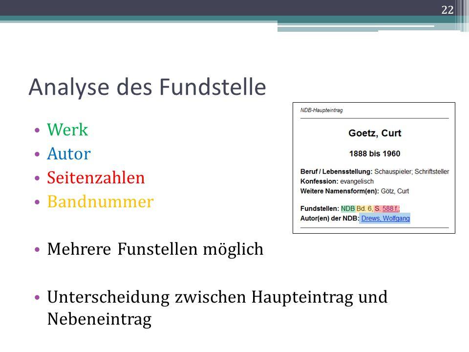 Analyse des Fundstelle Werk Autor Seitenzahlen Bandnummer Mehrere Funstellen möglich Unterscheidung zwischen Haupteintrag und Nebeneintrag 22