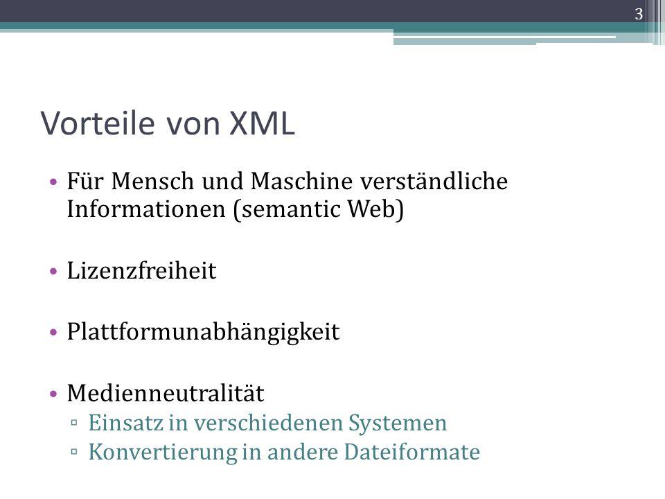 Standartisierung der Struktur Für eine einheitliche Struktur für alle Einträge in der ADB / NDB: Mehrere verschiedene Strukturtypen taggen Eine DTD oder ein XML-Schema definieren Dokumentation der DTD Welche Elemente können in welchen enthalten sein.