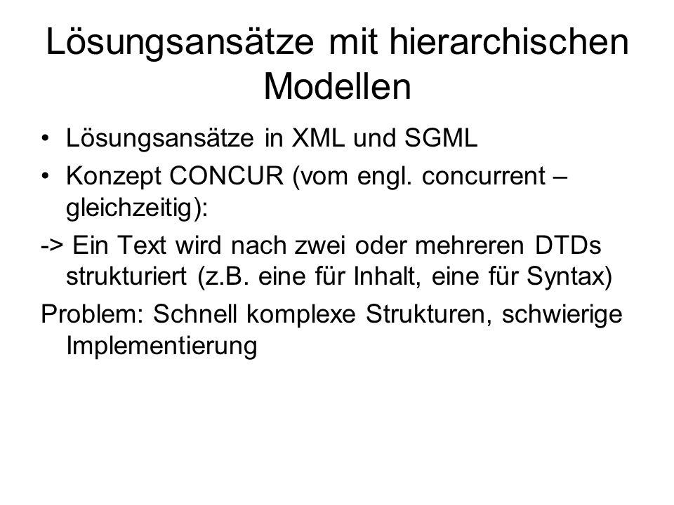 Lösungsansätze mit hierarchischen Modellen Lösungsansätze in XML und SGML Konzept CONCUR (vom engl. concurrent – gleichzeitig): -> Ein Text wird nach