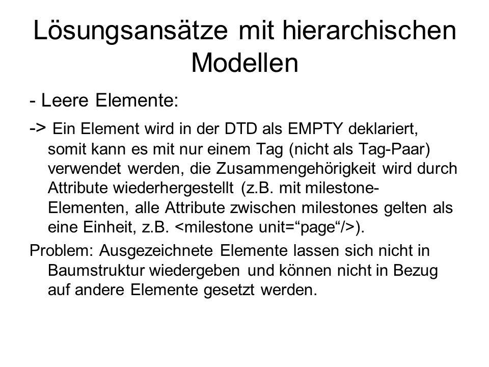 Lösungsansätze mit hierarchischen Modellen - Leere Elemente: -> Ein Element wird in der DTD als EMPTY deklariert, somit kann es mit nur einem Tag (nic