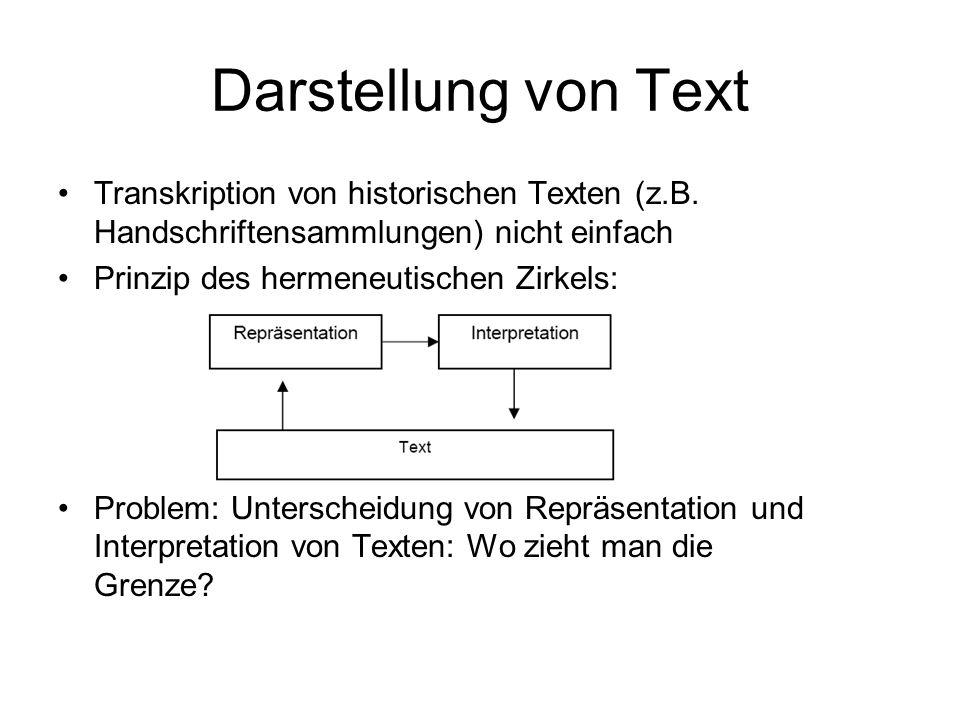 Darstellung von Text Transkription von historischen Texten (z.B. Handschriftensammlungen) nicht einfach Prinzip des hermeneutischen Zirkels: Problem: