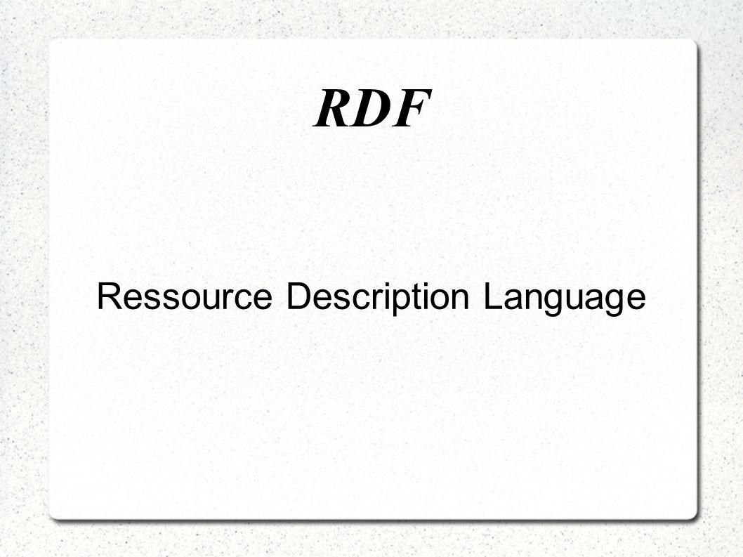 RDF Erzwingt keine spezifische Syntax, XML-Syntax empfiehlt sich jedoch Standard zur Beschreibung von vernetzten Ressourcen Datenmodell für Ressourcen und Relationen zwischen diesen.