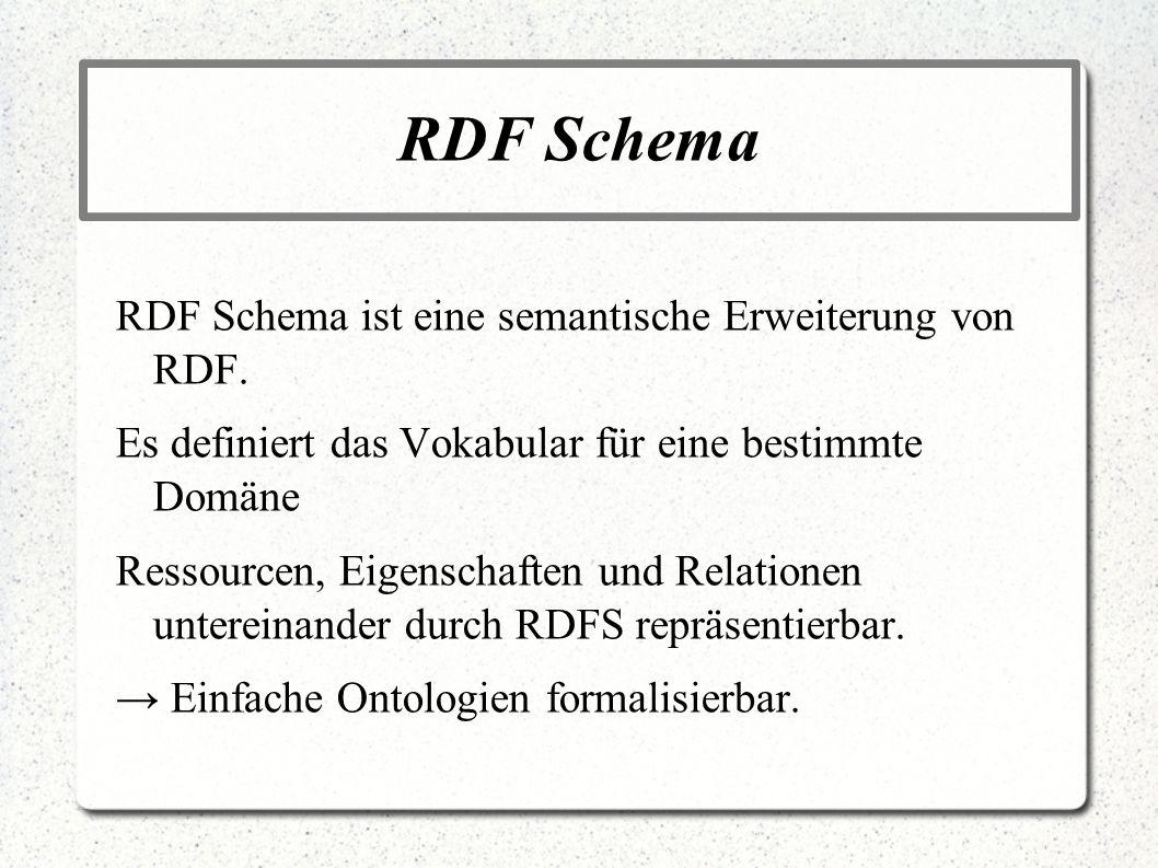 RDF Schema RDF Schema ist eine semantische Erweiterung von RDF. Es definiert das Vokabular für eine bestimmte Domäne Ressourcen, Eigenschaften und Rel