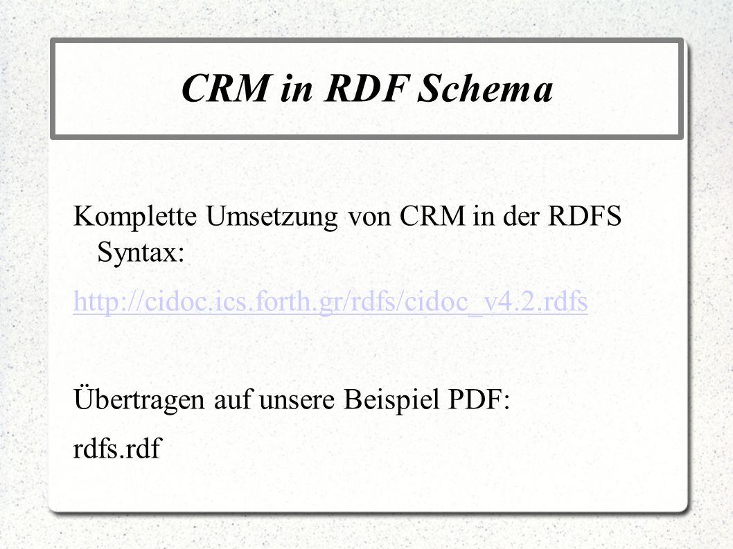 CRM in RDF Schema Komplette Umsetzung von CRM in der RDFS Syntax: http://cidoc.ics.forth.gr/rdfs/cidoc_v4.2.rdfs Übertragen auf unsere Beispiel PDF: r