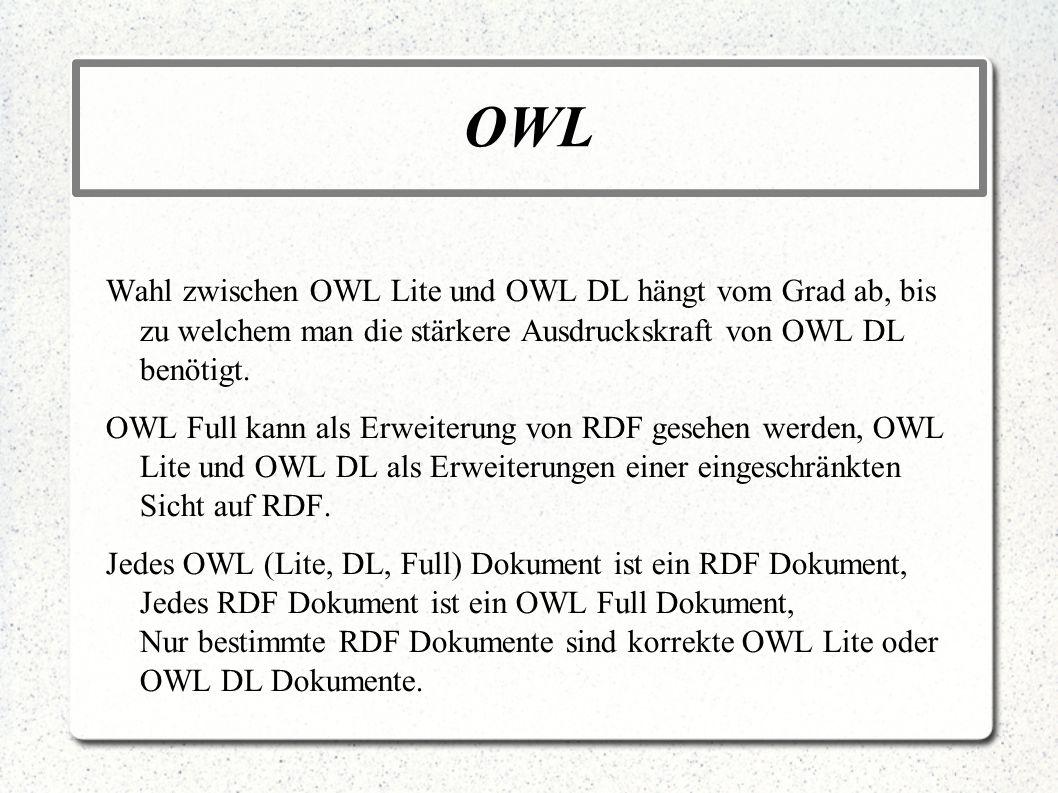 OWL Wahl zwischen OWL Lite und OWL DL hängt vom Grad ab, bis zu welchem man die stärkere Ausdruckskraft von OWL DL benötigt. OWL Full kann als Erweite