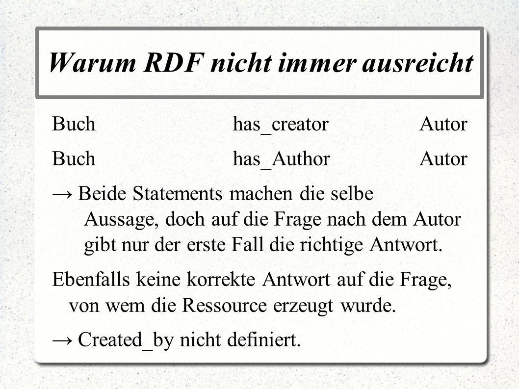 Warum RDF nicht immer ausreicht Buchhas_creatorAutor Buchhas_AuthorAutor Beide Statements machen die selbe Aussage, doch auf die Frage nach dem Autor