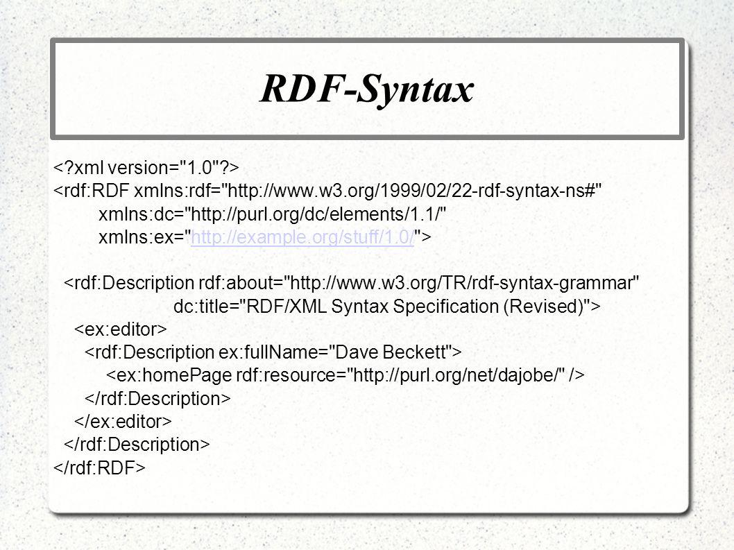 RDF-Syntax <rdf:RDF xmlns:rdf=