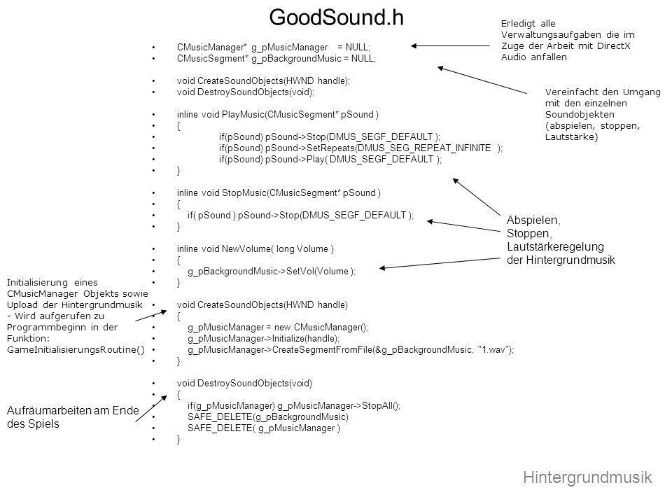 GoodSound.h CMusicManager* g_pMusicManager = NULL; CMusicSegment* g_pBackgroundMusic = NULL; void CreateSoundObjects(HWND handle); void DestroySoundOb
